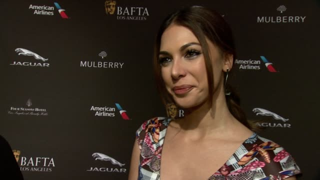 interview moran atias on being at the event on what makes the bafta tea party one of the most prestigious events of the weekend and on getting ready... - golden globe awards stock videos and b-roll footage
