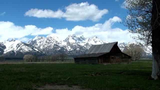 moran barn time lapse in daytime - grand teton national park stock videos & royalty-free footage