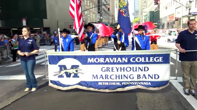 moravian college march during the columbus day parade on 5th avenue midtown manhattan new york city usa / moravian college a private liberal arts... - bethlehem pennsylvania stock videos & royalty-free footage