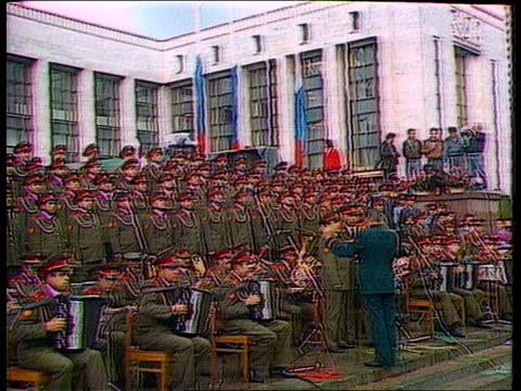 more republics proclaim independence: russian reaction; ussr: moscow: ext gv red army choir singing with orchestra on steps of parliament building... - choir stock videos & royalty-free footage
