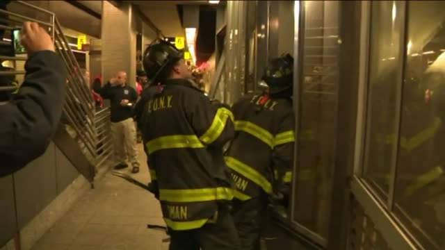 wpix more than 100 people were hurt when a long island rail road train hit a bumping block at atlantic terminal in brooklyn and was knocked off the... - long island railroad stock videos and b-roll footage