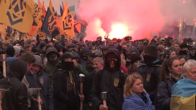 more than 10000 ukrainian right wing extremist activists celebrate the 75th anniversary of the establishment of the ukrainian insurgent army a... - distant stock videos & royalty-free footage