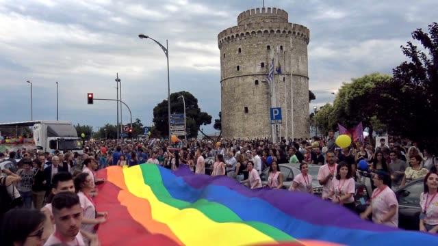 more than 13000 members of the lesbian gay bisexual transgender and intersex community of greece joined by their families friends officials and... - bisexuality stock videos and b-roll footage