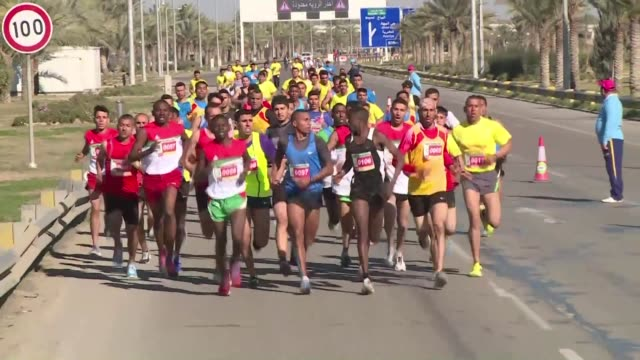 more than 2,000 athletes took part friday in baghdads international 10 kilometre marathon the first to be organised in the city since 2003 - kilometre stock videos & royalty-free footage