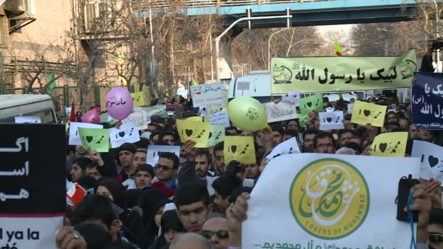 more than 2000 iranians protested monday outside the french embassy in tehran chanting death to france and urging the ambassador be expelled because... - muhammad prophet stock videos & royalty-free footage
