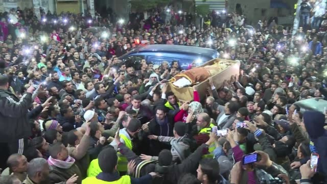 more than 2000 people attend the funeral of omar abdel rahman the blind sheikh linked to the 1993 world trade center bombing who died in a us jail in... - hometown bildbanksvideor och videomaterial från bakom kulisserna