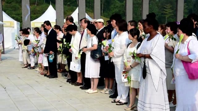 More than 20000 followers of the Unification Church gather in South Korea for the second anniversary of the death of their messiah and church founder...