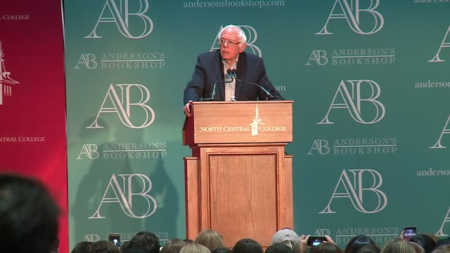 wgn more than 3000 people attended bernie sander's visit to north central college in chicago to plug his new book our revolution on nov 18 2016 - sander stock videos and b-roll footage