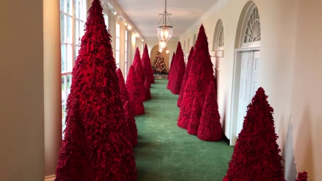 More than 40 red topiary trees line the East colonnade as part of the holiday decorations at the White House The 2018 theme of the White House...