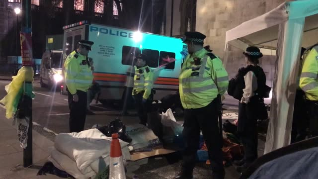 "more than 450 people have been arrested in london since an environmentalist protest has started on monday british police said thursday ""as of 330 pm... - climate action stock videos & royalty-free footage"