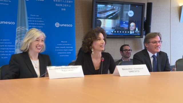more than 70 countries participate in a unesco videoconference in paris on how to ensure the continuity of education for schoolchildren in the face... - unesco stock videos & royalty-free footage