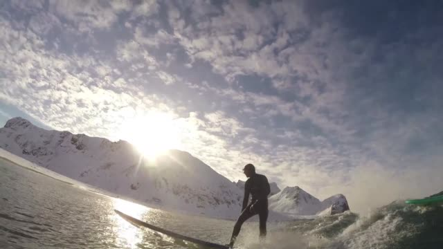 More than a thousand surfers come each year to the Arctic waters in northern Norway even during winter when the conditions provide extreme sports...