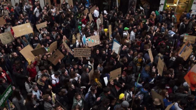 More than ten thousand students demonstrated for the climate in Lyon France on March 15 2019 At Greta Thunberg's call thousands of students skipped...