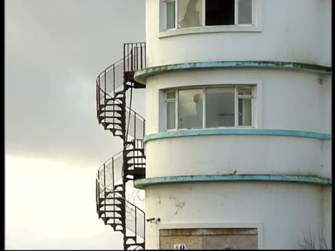 morecambe's art deco midland hotel to be restored lms detail of rounded end of midland with fire escape stairs ms detail of seahorse sculptures on... - tropical fish stock videos & royalty-free footage