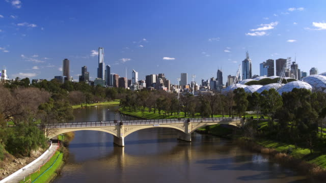 morell bridge, yarra river, melbourne, victoria, australia - antenna aerial stock videos & royalty-free footage