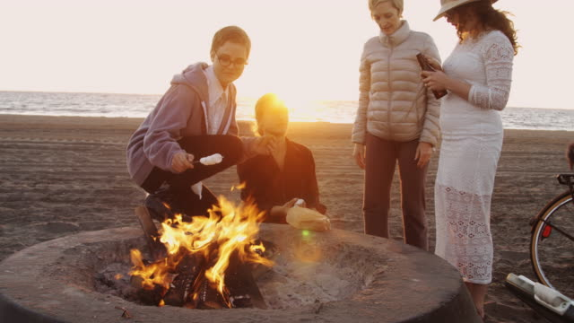 s'mores and beer on the beach - cooler container stock videos and b-roll footage