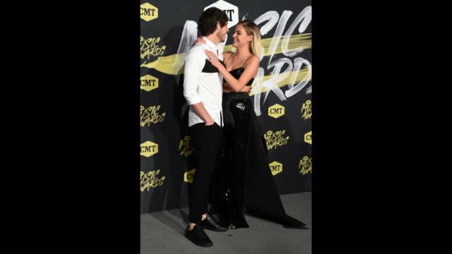 Morgan Evans and Kelsea Ballerini attend the 2018 CMT Music Awards at Bridgestone Arena on June 6 2018 in Nashville Tennessee