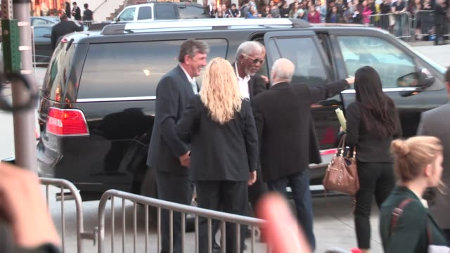 morgan freeman arrives at the transcendence premiere in westwood celebrity sightings in los angeles on april 10 2014 in los angeles california - morgan freeman stock videos & royalty-free footage