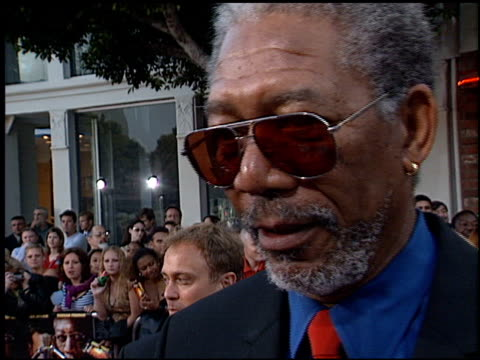 morgan freeman at the 'sum of all fears' premiere at the mann village theatre in westwood california on may 29 2002 - レジェンシービレッジシアター点の映像素材/bロール
