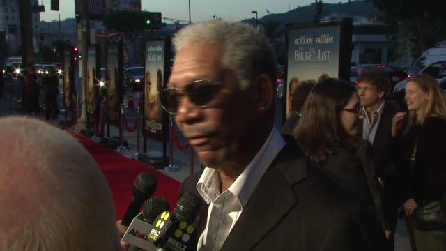 morgan freeman at the 'the bucket list' premiere at the cinerama dome at arclight cinemas in hollywood, california on december 16, 2007. - bucket list stock videos & royalty-free footage