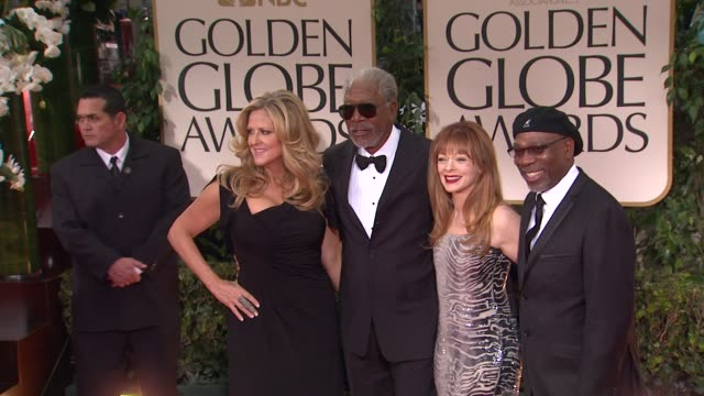 Morgan Freeman Frances Fisher and Alfonso Freeman at 69th Annual Golden Globe Awards Arrivals on January 15 2012 in Beverly Hills California
