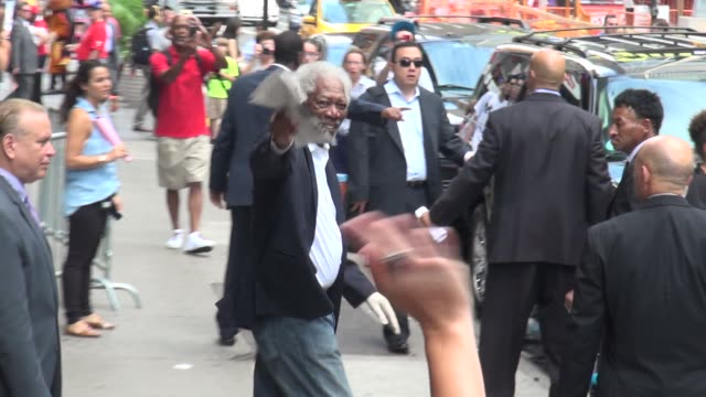 morgan freeman leaving the good morning america show in celebrity sightings in new york - morgan freeman stock videos & royalty-free footage