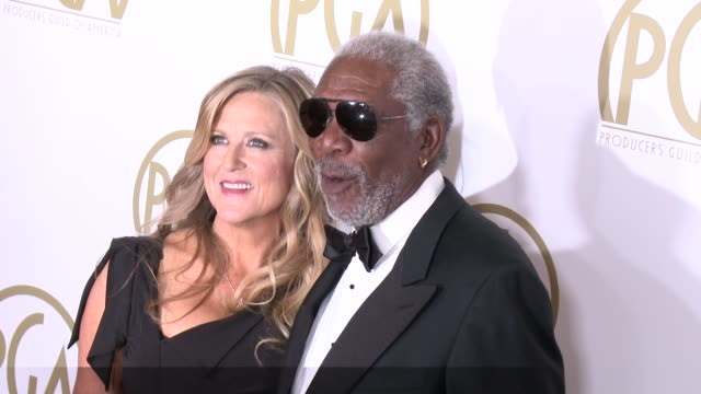 morgan freeman lori mccreary at 25th annual producers guild awards at the beverly hilton hotel on in beverly hills california - morgan freeman stock videos & royalty-free footage