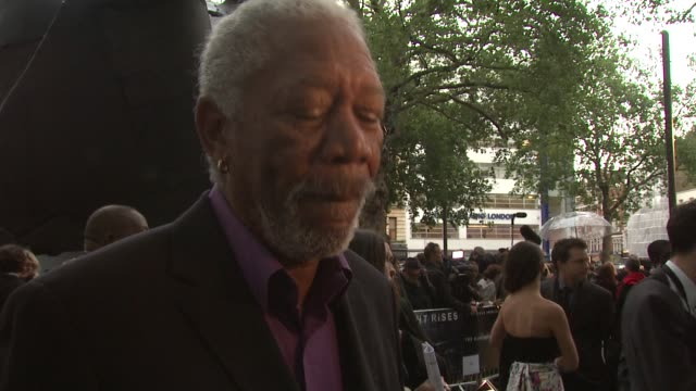 morgan freeman on film being epic and seeing the final edit at the dark knight rises: european premiere at leicester square on july 18, 2012 in... - epic film stock videos & royalty-free footage
