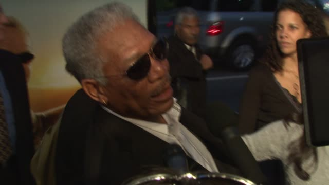 morgan freeman on his personal bucket list at the 'the bucket list' premiere at the cinerama dome at arclight cinemas in hollywood california on... - arclight cinemas hollywood stock videos and b-roll footage