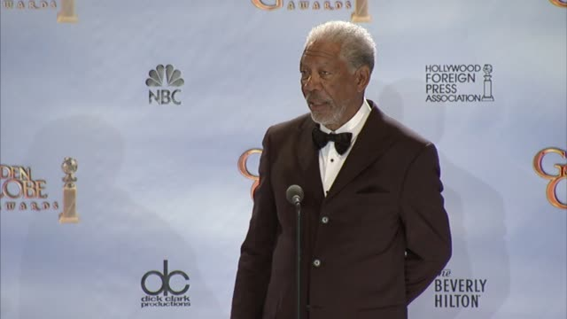 morgan freeman on learning american history at 69th annual golden globe awards press room on 1/15/2012 in beverly hills ca - morgan freeman stock videos & royalty-free footage