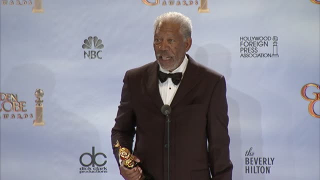 morgan freeman on the movie that started his career at 69th annual golden globe awards press room on 1/15/2012 in beverly hills ca - morgan freeman stock videos & royalty-free footage