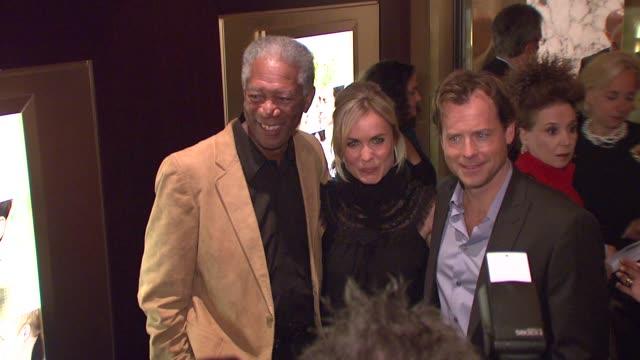 Morgan Freeman Radha Mitchell and Greg Kinnear at the New York screening of 'Feast of Love' at Dolby 88 Screening Room in New York New York on...