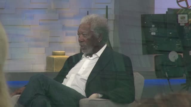 morgan freeman waiting to be interviewed on the set of the good morning america show in celebrity sightings in new york - morgan freeman stock videos & royalty-free footage