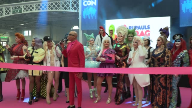 morgan mcmichaels, serena chacha, charlie hides, mrs kasha davis, jujubee, the vivienne, rupaul hosts the ribbon cutting with the queens at rupaul's... - reality tv stock videos & royalty-free footage