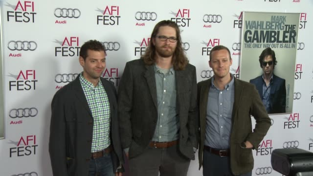 """morgan myer, joe collander, and jason tippet at afi fest 2014 presented by audi gala screening of """"the gambler"""" at dolby theatre on november 10, 2014... - the dolby theatre stock videos & royalty-free footage"""