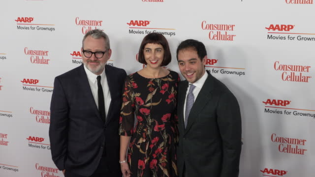 morgan neville, caryn capotosto and nicholas ma at the 18th annual movies for grownups awards at the beverly wilshire four seasons hotel on february... - フォーシーズンズホテル点の映像素材/bロール