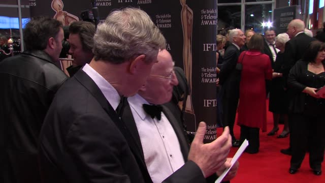 morgan o'sullivan and michael d higgins at the the irish film television awards at dublin - michael d. higgins stock videos and b-roll footage