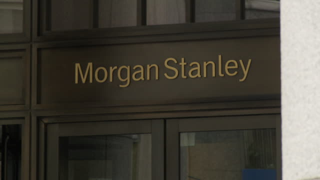 Cu Morgan Stanley Bank Sign Over Doors People Walking In Foreground