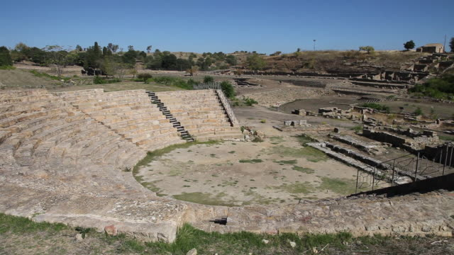 morgantina, view of the ancient greek theater, 3rd century b.c. - 3rd century bc stock videos & royalty-free footage