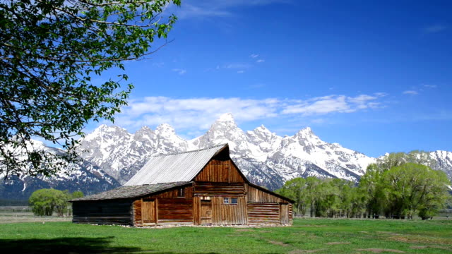 mormon barn in teton national park - grand teton national park stock videos & royalty-free footage