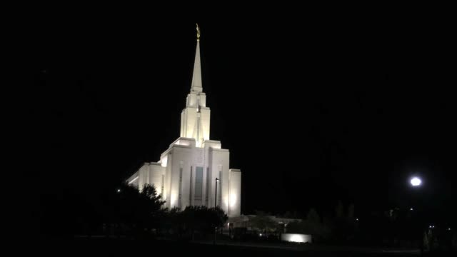 mormon temple at night - mormon temple stock videos and b-roll footage