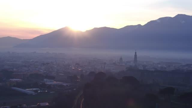 morning aerial scenes of Pompei city center