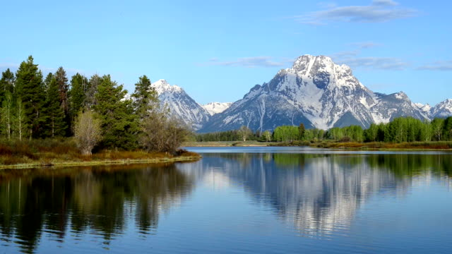 mattina al oxbow di teton national park - parco nazionale del grand teton video stock e b–roll