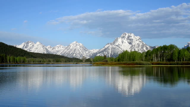 morning at the oxbow in teton national park - snake river stock videos & royalty-free footage