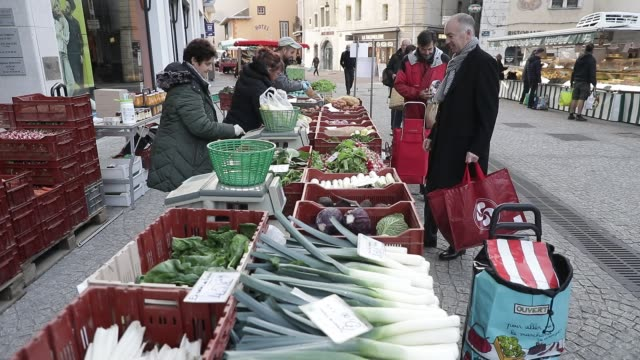 morning atmosphere at the downtown market on march 21, 2020 in chambery, france. - gardening stock videos & royalty-free footage