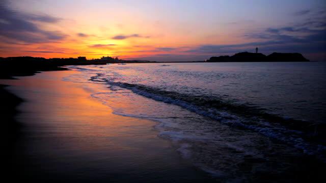 Morning beach with Enoshima
