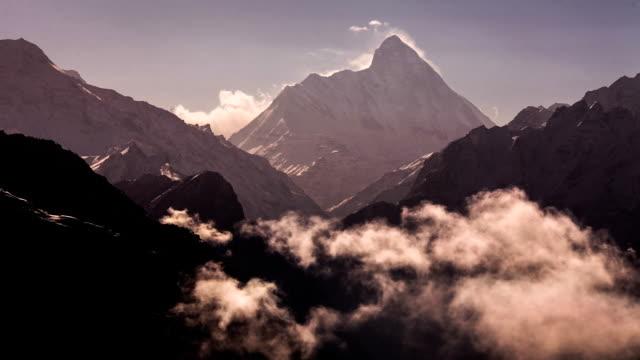 Morning clouds rising around the Nanda Devi Peak