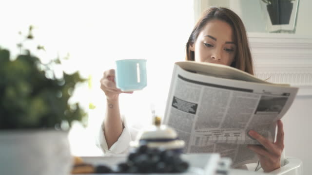 morning coffee and newspapers. - paper stock videos & royalty-free footage