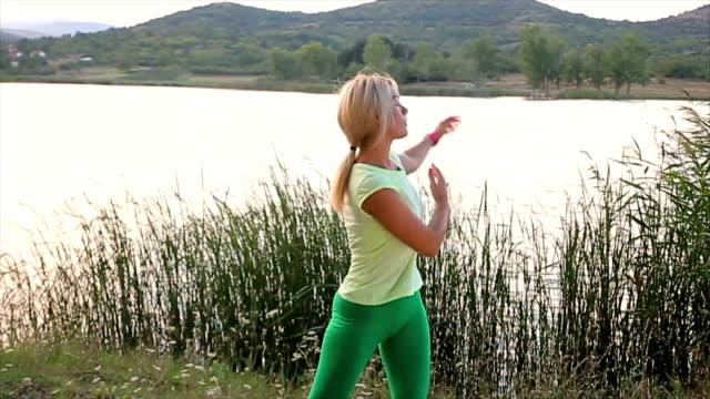 morning exercise near the lake
