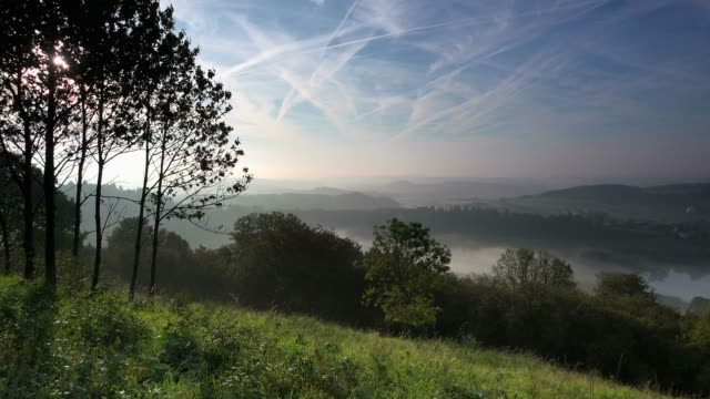 morning fog at schalkenmehren maar, vulkaneifel, eifel, rhineland-palatinate, germany, europe - idyllic stock videos & royalty-free footage